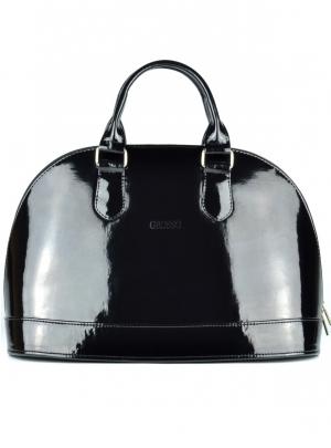 Lakovaná čierna vystužená kabelka S24 | Grosso