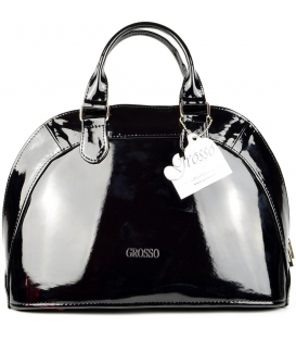 Elegantná čierna lesklá kabelka S29 - Grosso
