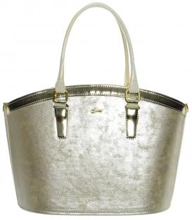 Zlatá kabelka s béžovými držadlami S505 - Grosso
