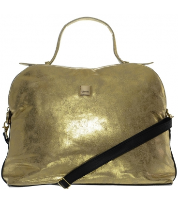Zlato-čierna menšia kabelka so športovým lukom S584