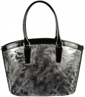 Čierno-strieborná elegantná kabelka do ruky S505 Grosso