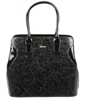 Čierna mramorová elegantná kabelka  S574 - Grosso