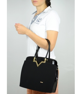 Čierna elegantná kabelka so zlatým kovaním S482 - Grosso