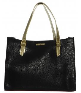 Čierna elegantná kabelka so zlatými ručičkami S573
