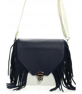 Modro-biela elegantná crossbody kabelka so strapcami