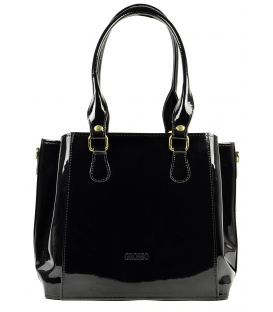 Čierna lakovaná kabelka cez rameno S452 - Grosso