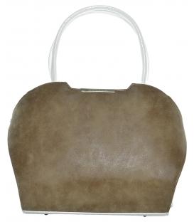 Hnědo-bílá vyztužená kabelka S467 - Grosso