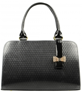 Čierna lakovaná kabelka s mašľou S410 - Grosso