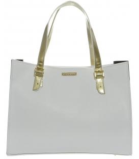 Bielo - čierna široká kabelka S573 - Grosso