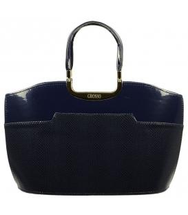 Modrá lakovaná kabelka s hadím vzorom S5 Grosso