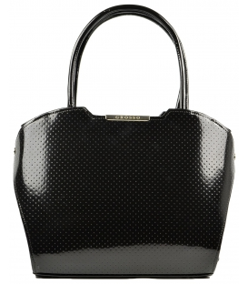 Čierna lakovaná kabelka s bodkami S467 - Grosso