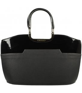 Čierna matná kabelka s lakovaným lemom S5   Grosso