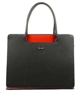 Čierno červená elegantná kabelka S551 Grosso