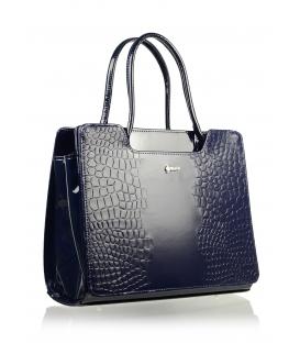 Modrá elegantná kabelka s kroko prechodom S551 Grosso