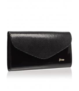 Čierna matná listová kabelka s lakovanou klopou SP102   Grosso