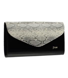 Černá společenská kabelka s šedým hadím motivem SP102 Grosso