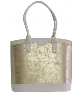 Béžovo-hnedá vystužený kabelka s hadím vzorom S577 - Grosso