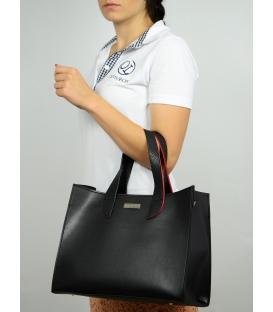 Čierna veľká kabelka s červeným lemom S573 - Grosso