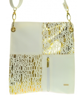 Bielo-zlatá moderná crossbody taška M187