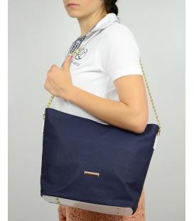 Modrá matná kabelka s řetízkem S569 Grosso