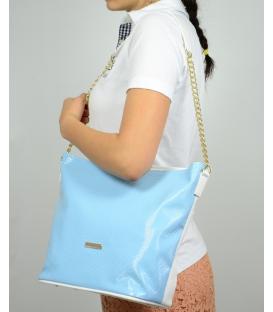 Modrá pastelová kabelka se zlatým řetízkem S569 Grosso