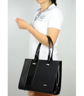 Čierna elegantná kabelka spotlačou S499 Grosso