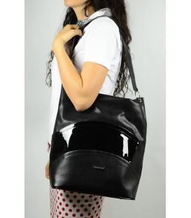 Praktická čierna kabelka  S603- GROSSO