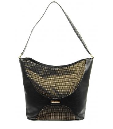 Veľká čierna brokátvá kabelka S604- GROSSO