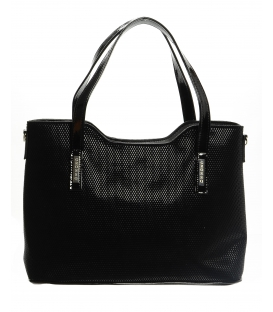 Čierna jednoduchá elegantná kabelka s odleskom S608 - Grosso