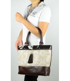 Dámská koňaková kabelka s béžovým pruhem S554 -Grosso