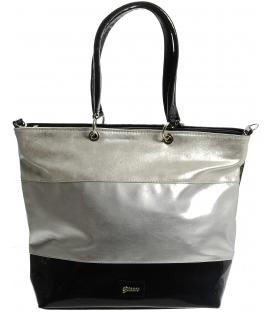 Veľká metalická kabelka v strieborných odtieňoch S555 - Grosso