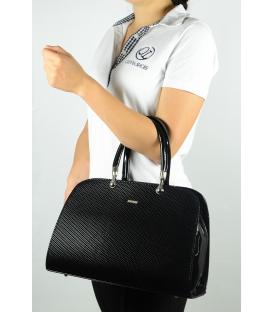 Čierna lesklá vystužená kabelka S599 - Grosso