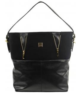 Čierna veľká kabelka so zipsami S578 - Grosso