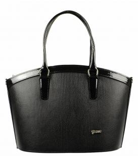 Čierna matná kabelka s lakovaným lemom S505   Grosso