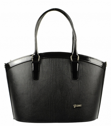 Černá matná kabelka s lakovaným lemem S505 Grosso