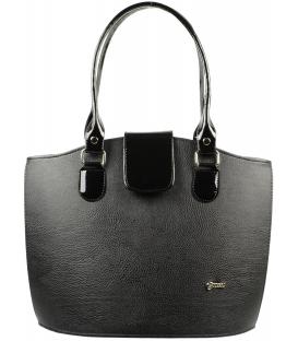 Čierna vysoká kabelka s výstuhou S38 mat   Grosso