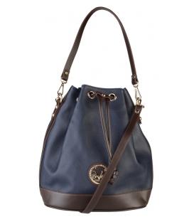 Tmavá modro-hnedá mechová kabelka - V1969