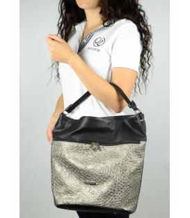 Zlato-čierná kabelka so zipsami S616 - Grosso