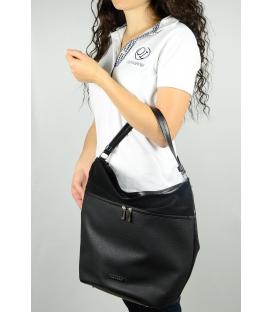 Čierna matná  kabelka so zipsami S616 - Grosso
