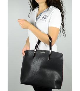 Čierno-červená elegantná kabelka v anglickom štýle  S612 - Grosso