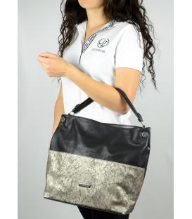 Černo-zlatá metalická kabelka S 613 - Grosso