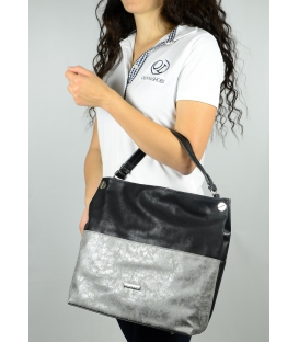 Čierno-strieborná metalická kabelka S613 - Grosso