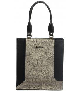 Čierno-zlatá vystužená elegantná kabelka S610 -Grosso