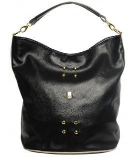 Černá mechová kabelka S595 - Grosso