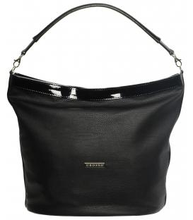 Čierno matno-lesklá kabelka mechového tvaru S576   Grosso