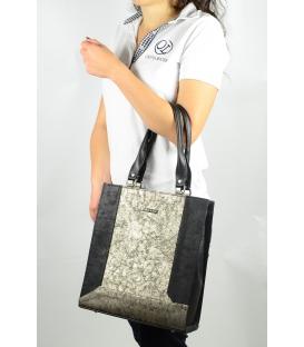 Černo-zlatá vyztužená elegantní kabelka S 610 -Grosso