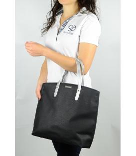 Čierno-stieborná kabelka v anglickom štýle  S612 - Grosso