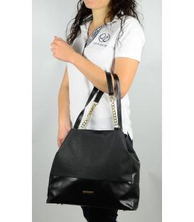 Černá sportovní kabelka s řetízky S611 - Grosso