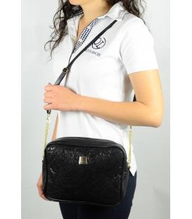 Černá roztíraná crossbody taška s krajkou M206 - Grosso