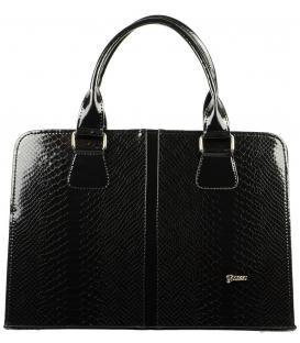 Čierna obdĺžniková kabelka s hadím vzorom S499 teius - Grosso